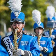 students in marching band