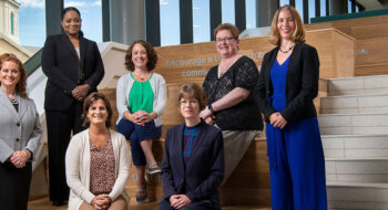 New university deans and division leaders: Angie Harrell, Eve-lynn Clarke, Mary Riepenhoff, Colleen Huddleson, Carolyn Yoder, Trish Bugajski, and Andrea Geyer